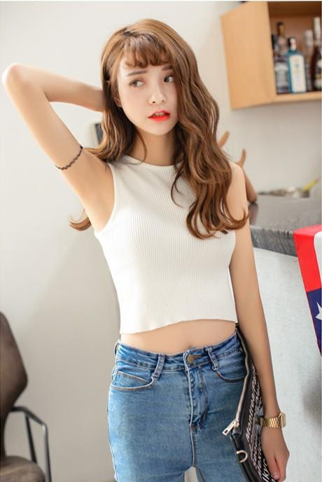 Fashion Short Knit Singlet (White)