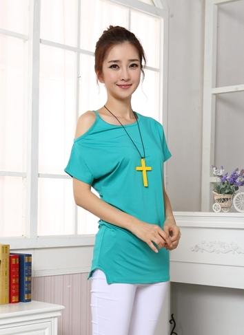 Fashion Show-Shoulder Blouse (Lake Blue)