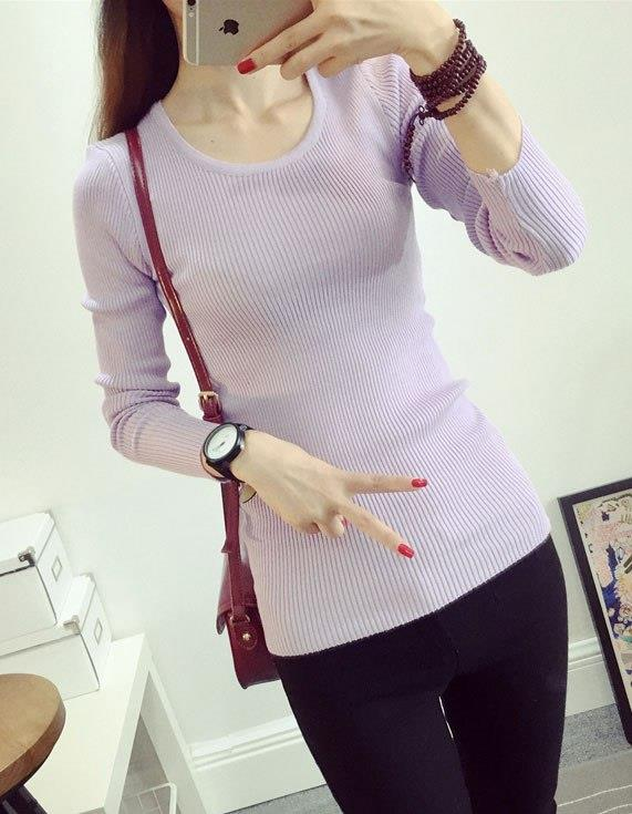 Fashion Show-slim Knit Long Sleeve Blouse (Light Purple)