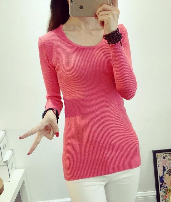 Fashion Show-slim Knit Long Sleeve Blouse (Red Melon)