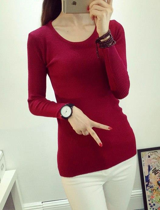 Fashion Show-slim Knit Long Sleeve Blouse (Wine Red)