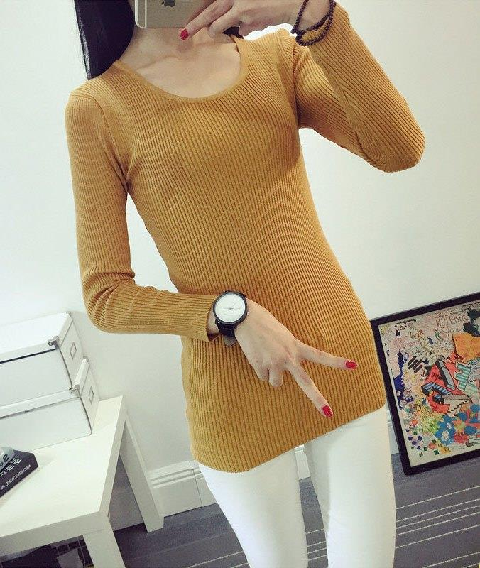 Fashion Show-slim Knit Long Sleeve Blouse (Yellowish Brown)