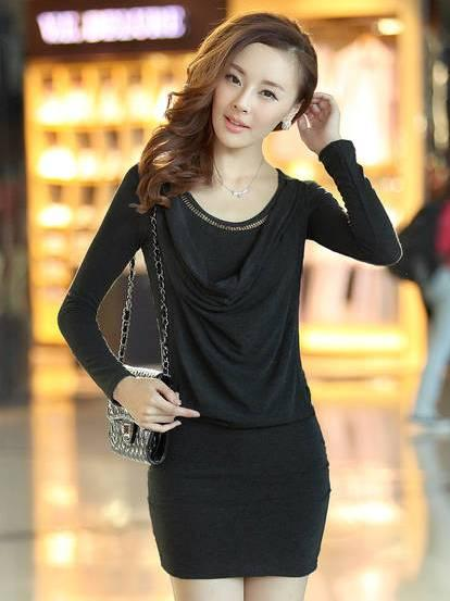 Fashion Show-slim Long Sleeve Dress (Black)