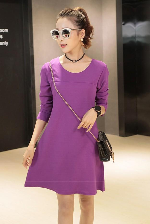 Fashion Show-slim Long-sleeve Dress (Purple)