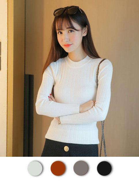 Fashion Show-slim Long Sleeve Knit Blouse (4 Colours)