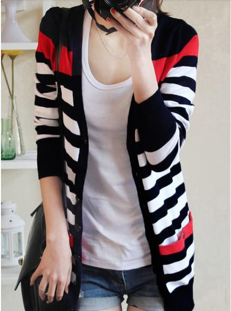 Fashion Stripe Knit Long-sleeve Jacket (Black)