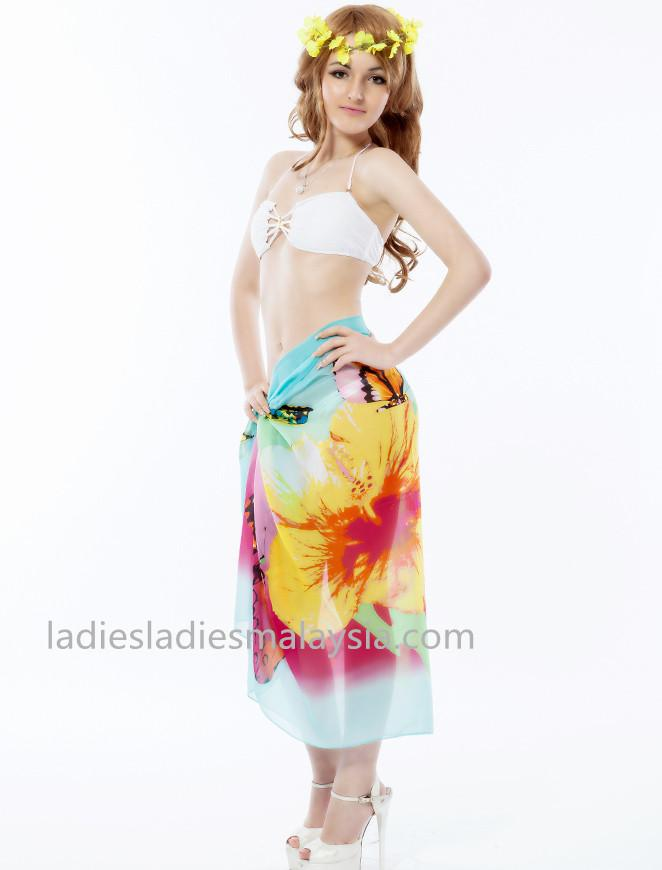 fashion style beach sarong beach cover flower butterfly colourful