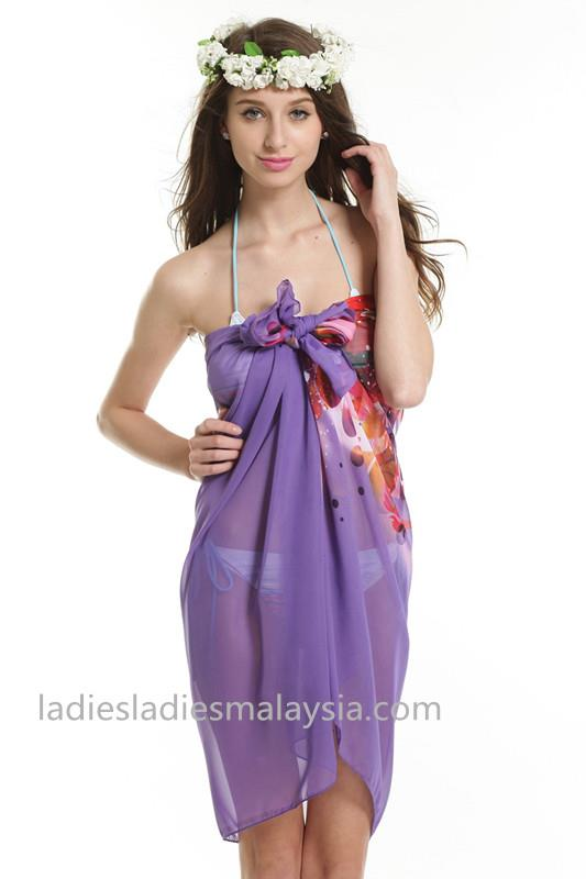 Fashion style beach sarong beach cover purple flower