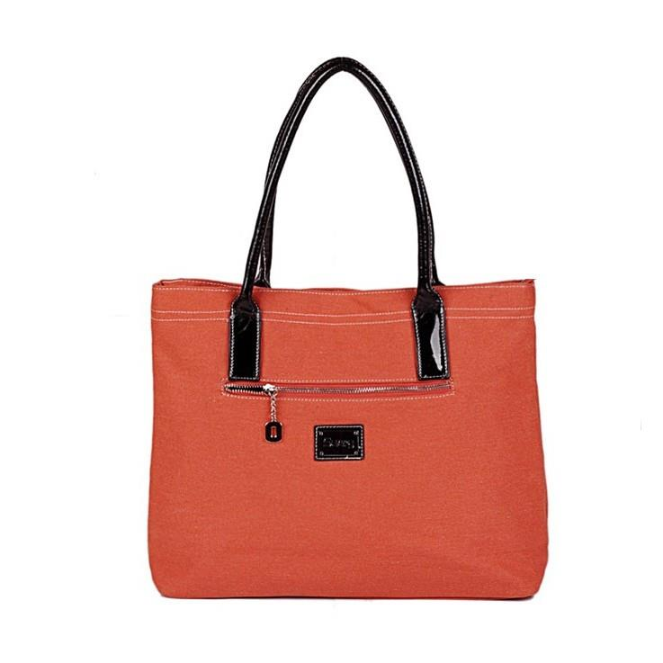 Fashion Zipper Embellished All Match Handbag Reddish Orange