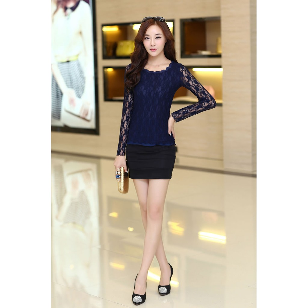 FASHIONABLE LADIES LONG SLEEVE BLOUSE WITH LACE XL SIZE - DARK BLUE
