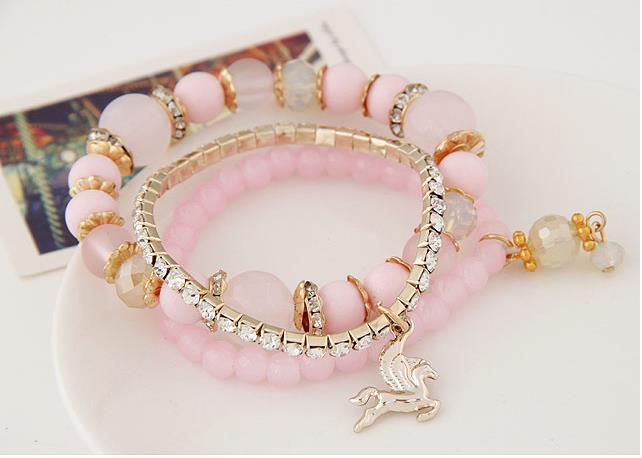 Fashionable Multi-Layer Bracelet - Pink Color With Pendants