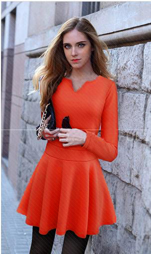 Fashionable Trendy Basic Lady Flare Mini Dress
