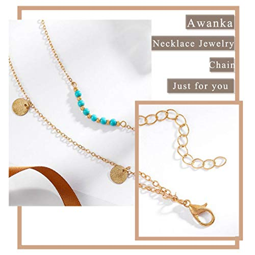...Fast Delivery Awanka Boho Turquoise Layered Necklace Sequins Pendant Neckla