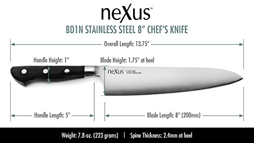 "...Fast Delivery Nexus BD1N 8 "" Chef's Knife - 63 Rockwell Hardness, Amer"