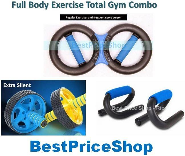 Fast Fit Exercise Gym Combo- Ab Roller + Push Up Bar + Super Iron Arm
