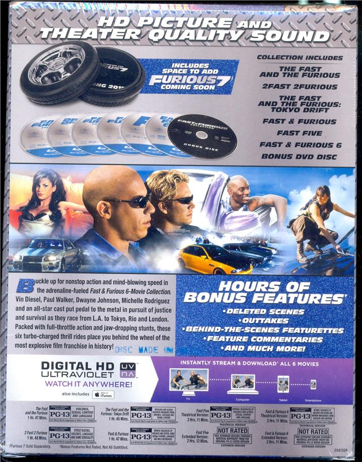 Fast & Furious 1 - 6 Collection - New Blu-Ray