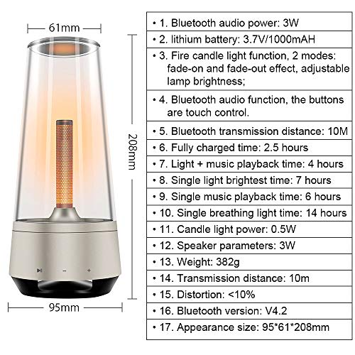 FastDeng Led Candle Table lamp, Outdoor Speakers Bluetooth Portable Stereo Spe