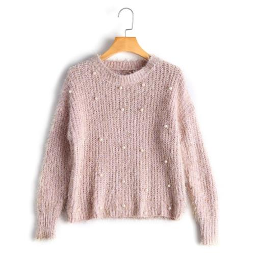 FAUX PEARL EMBELLISHED KNIT FUZZY S (end 7/24/2020 11:53 PM)
