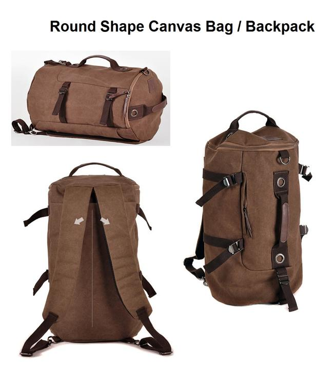 Fd005 Men S Casual Canvas Bag Round Backpack Travel