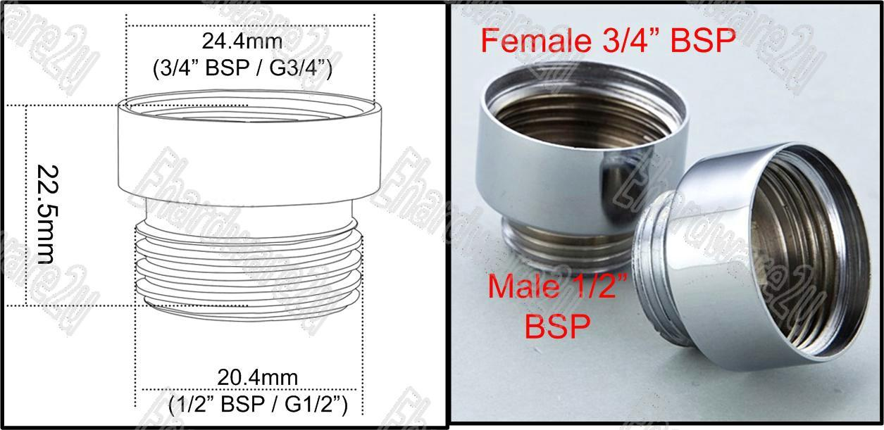 Female 3/4'BSP To Male 1/2'BSP Adaptor (MF04X06)