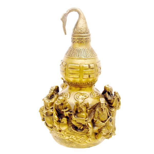 Feng Shui Brass Wu Lou Gourd with 8 Immortal Images for Good Fortune