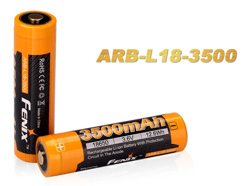 FENIX 18650 3.6/3.7V 3500mAh Li-ion Rechargeable Battery ARB-L18-3500