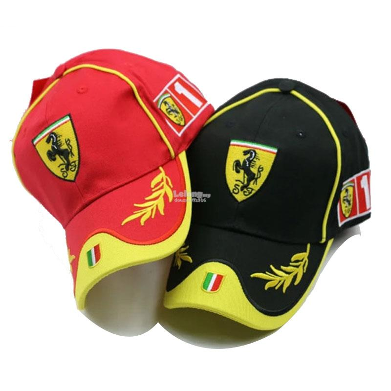 Ferrari Black Horse Formula One Car Racing Gold Leaf Flag Podium Cap 413e9387632
