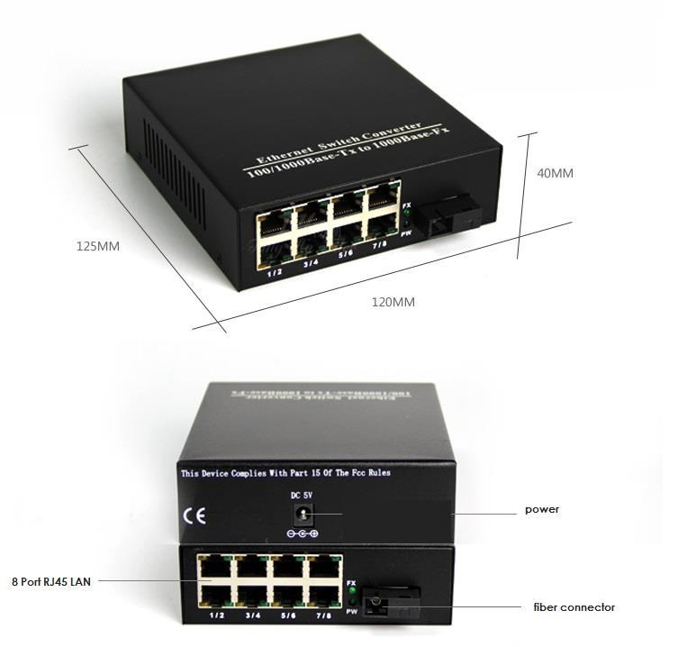 FIBER SWITCH SINGLEMODE SIMPLEX 8 PORT 10/100 SWITCH (S351)