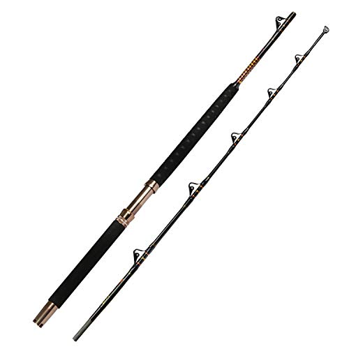 Fiblink 1-Piece/2-Piece Saltwater Offshore Heavy Trolling Rod Big Game Roller