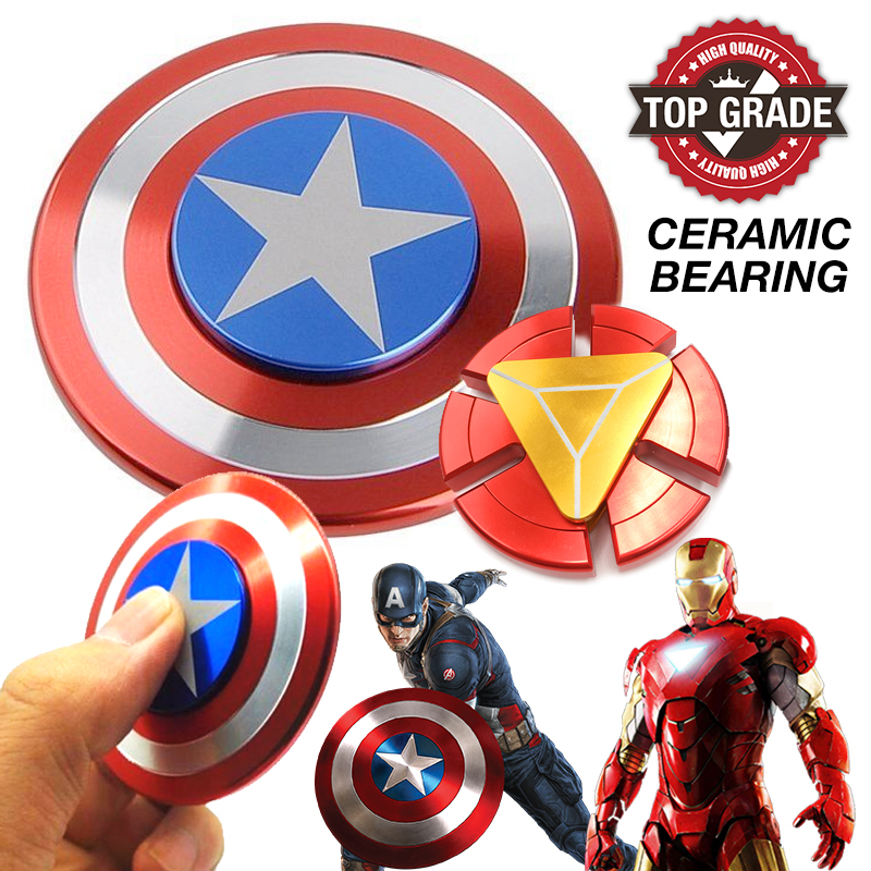 Fidget Spinner Captain America Iron Man Aluminum Alloy Ceramic Bearing