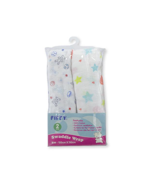 Fiffy Baby Soft  & Ventilated Baby Swaddle 2PC - A98282