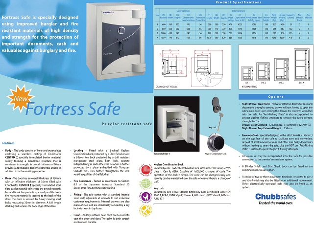 Fire Burglar Resistant Safe Chubb Fortress Size 1