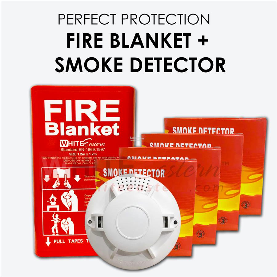 Fire Safety Package 3 ( 4x Smoke Alarm Detector + Fire Blanket )