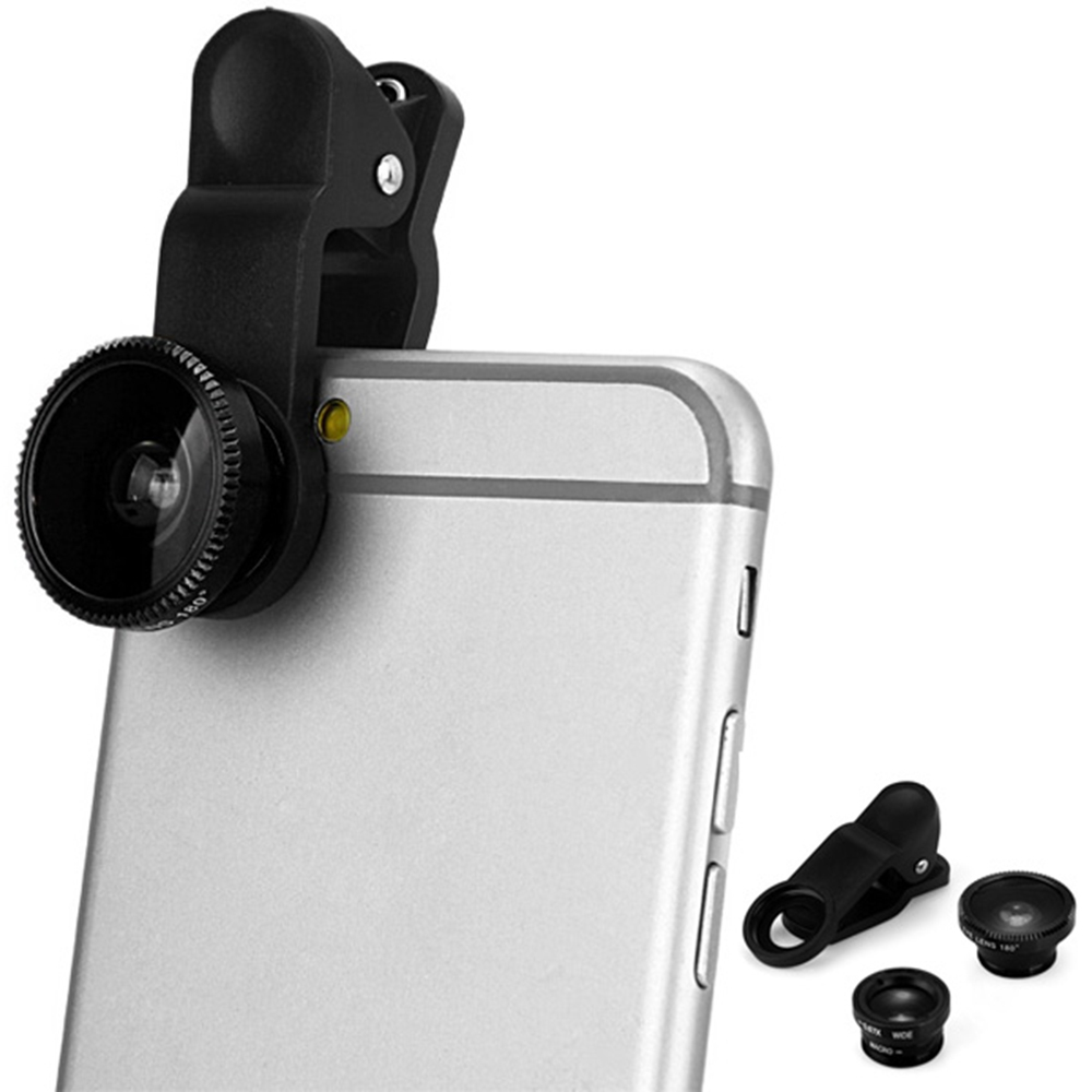 0836535a44db14 FISH EYE WIDE ANGLE MACRO UNIVERSAL CLIP MOBILE PHONE LENS [BLACK]