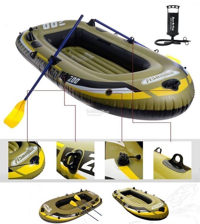 Fishman Inflatable Boat - Bot Getah Kayak 2 Layer With Paddle & Pump