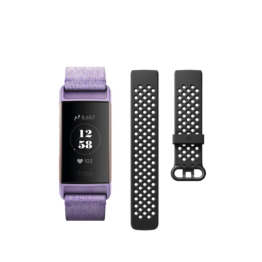 Fitbit Charge 3 Special Edition Fitness Activity Tracker (Lavender Woven) +  Bl