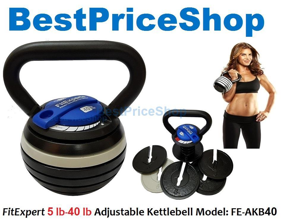 FitExpert Gym Grade 8-40lbs Adjustable Kettlebell Weight Lifting 18kg