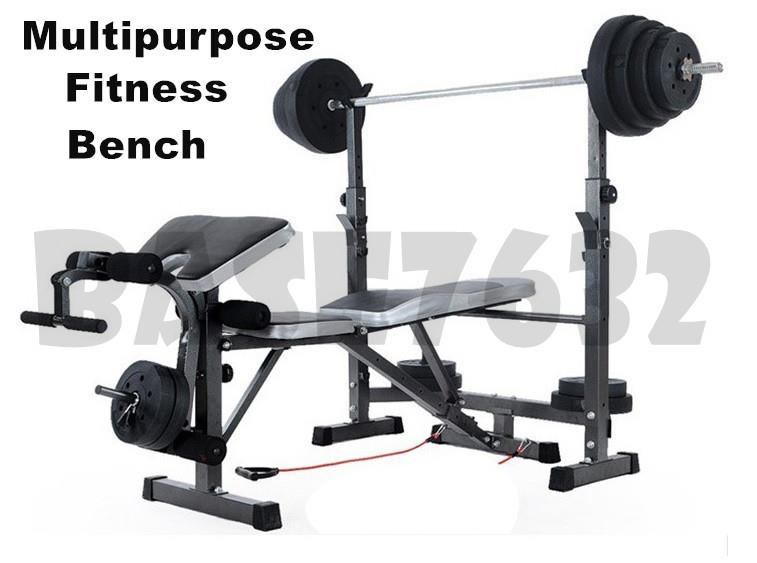 Fitness  Gym Multifunction Barbell Weight Lifting Squat Bench Chair