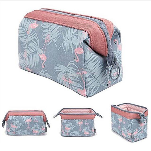 Flamingo Cosmetics Toiletries Make Up Pouch Travel Bag