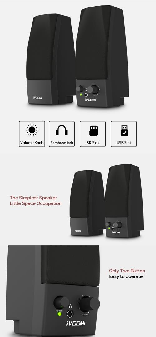 Flash Sales::iVOOMI USB Powered Speaker Black with 3.5mm AUX Input
