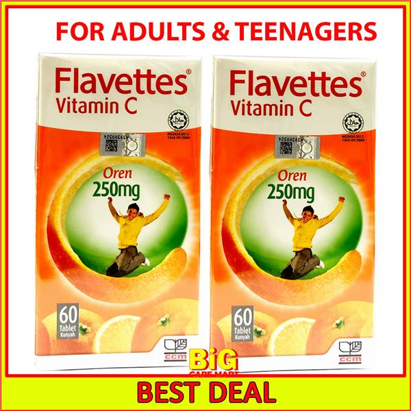 Flavettes Vitamin C 250mg 60S Orange Flavor X 2bottles