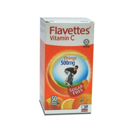 FLAVETTES VITAMINS C ORANGE 500MG SUGAR FREE 50 TABLETS
