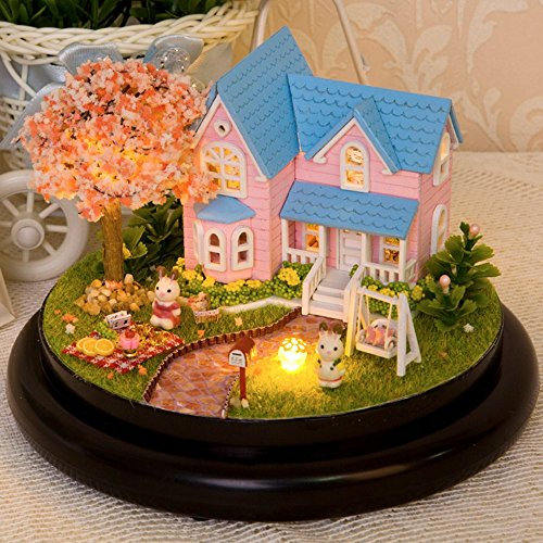 Flever Dollhouse Miniature DIY House Kit Creative Room with Furniture and Glas