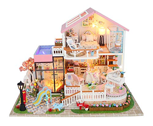 Flever Dollhouse Miniature DIY House Kit Creative Room with Furniture for Roma