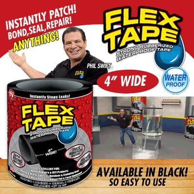 Flex Tape Strong Rubberized Waterproof Tape 4 Wide Home Repair & DIY