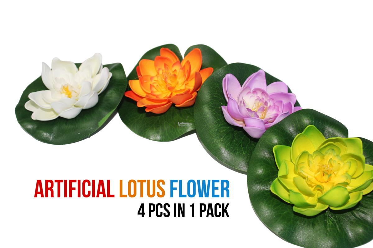 Floating artificial lotus flower pa end 10252018 340 pm floating artificial lotus flower pack 4 flower in a pack mightylinksfo