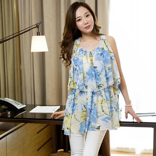 ac2f8ee1694a6b FLORAL CHIFFON TOP BLUE Free Size (end 6 25 2018 2 15 PM)