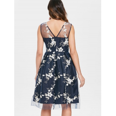 f978fa811c6 Floral Embroidery Fit and Flare Lace Dress (MIDNIGHT BLUE)