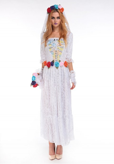 floral ghost bride halloween costume