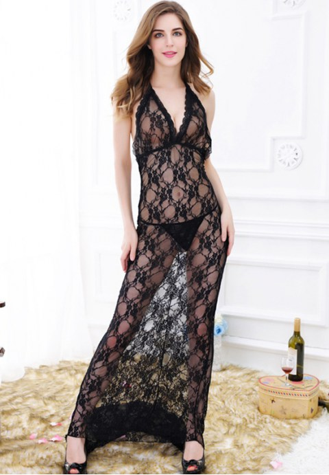 See Through Floral Lace Maxi Dress
